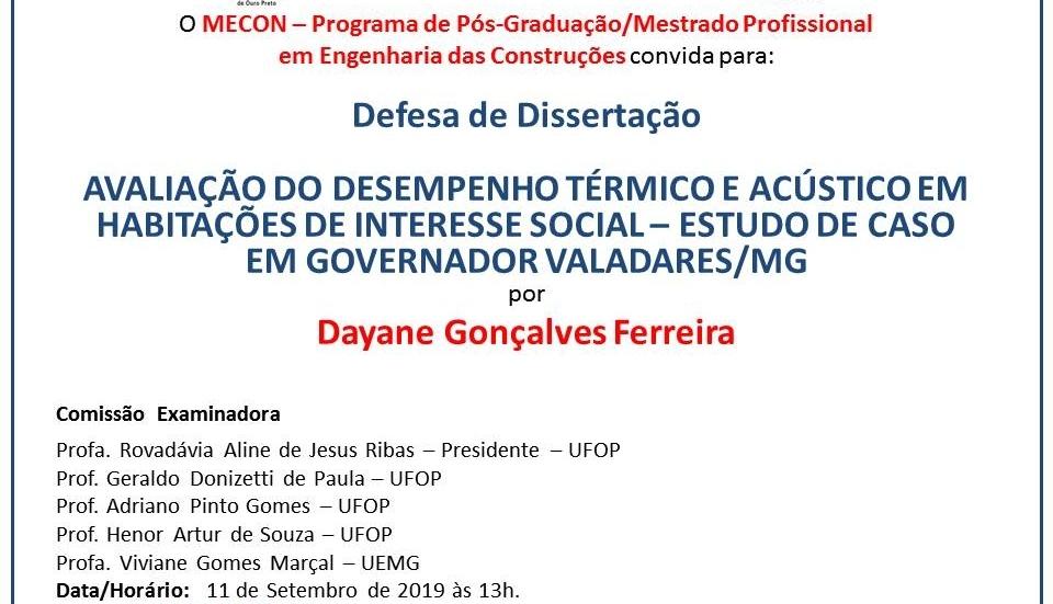 Convite de Defesa de Dissertação da aluna Dayane Gonçalves Ferreira